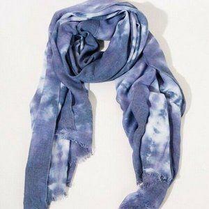 Umgee Scarf Tie Dye Blue Gray Frayed Edge Wrap